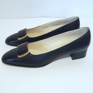 "Bally Black Leather Gold Tone Buckle Toe 1.5"" Block Heel Size 9.5"